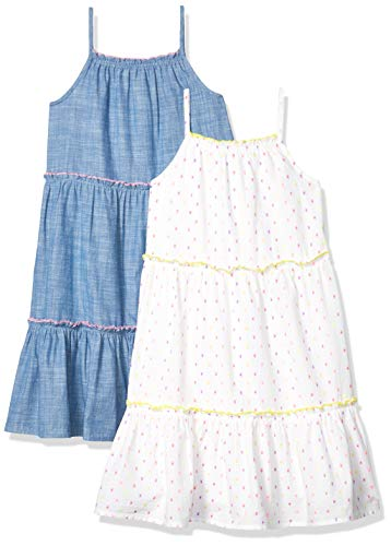 Spotted Zebra Girls' Toddler Woven Sleeveless Tiered Dresses, 2-Pack Chambray/White Multi-Dots, 3T