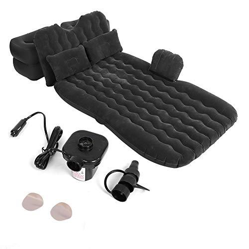 Aynefy - Cama hinchable con bomba y almohada, colchón hinchable de coche, multifuncional con bomba de aire recargable y 2 almohadas, 2 taburetes negro/beige (opcional) (beige)