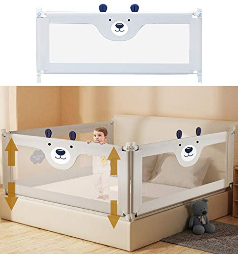 Bed Rail for Toddlers, 60''70''78''86'' Extra Long Baby Bed Rail Guard Lifting Vertically, 1 Side of Free-Tool Assembled Bed Rail Guard for Toddlers Fit Queen Bed, King Bed (70 Inch, Grey Bear)
