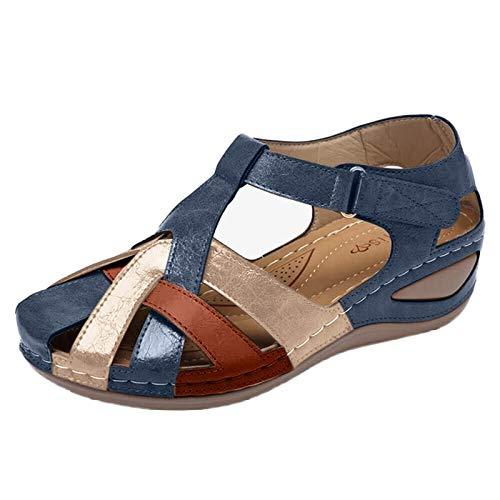 Sandalias de Mujer Verano 2021 Zapatos Femeninos Mujer Peep-Toe Wedge Sandalias cómodas Sandalias Planas Sandalias Femeninas de Talla Grande tira de tobillo