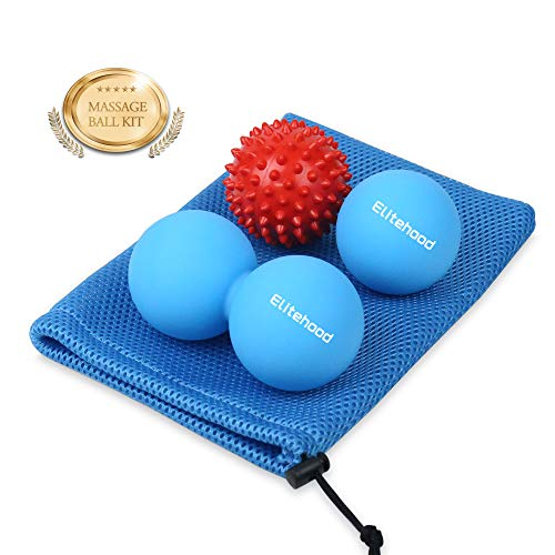Elitehood Lacrosse Balls Set Including Lacrosse Ball, Peanut Massage Ball and Spiky Massage Ball. Myofascial Massage Ball, Deep Tissue Lacrosse Balls, Trigger Point Therapy Ball. Plantar Fasciitis