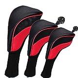 N/H Set di 3 Copri Mazza da Golf Ibrida, Collo Lungo Copri Mazze da Golf con Etichetta Intercambiabile 1 3 5 7 X, Rosso