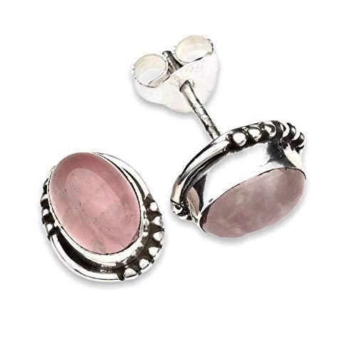 Pendientes de plata 925 con cuarzo rosa (No: MOS 20-07)