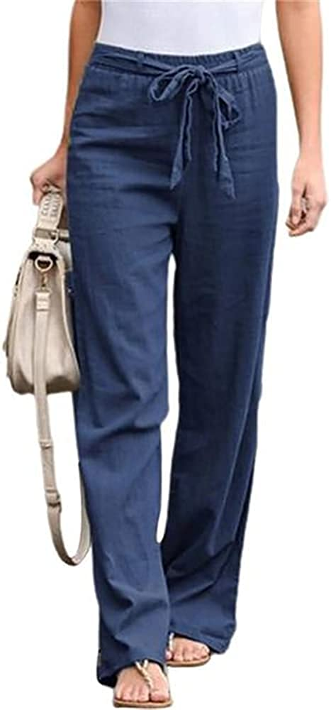 NP Women Casual Pants Wide Leg Pants Color Bow Sash Waist Wide Leg Pants Women Long