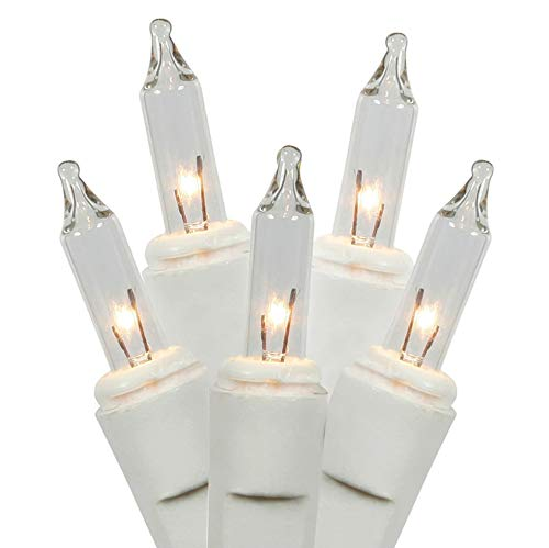 Holiday Pride 100 Count Ultra-Brite Clear White Lights with White Wire - Indoor / Outdoor Use - UL Listed