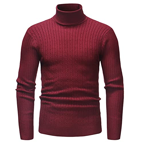 Jersey para Hombre, suéter de Cuello Alto, Manga Larga, Tejido con Cable, Fondo de Negocios, Ocio, Informal, de Talla Grande L