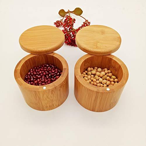 behone 2 piezas Caja De Sal De Bambú De Madera, Salero Cocina de Bambú Caja, Recipientes de Sal, Natural Caja Almacenamiento Bambú con Tapa Giratoria Magnética para Cocina