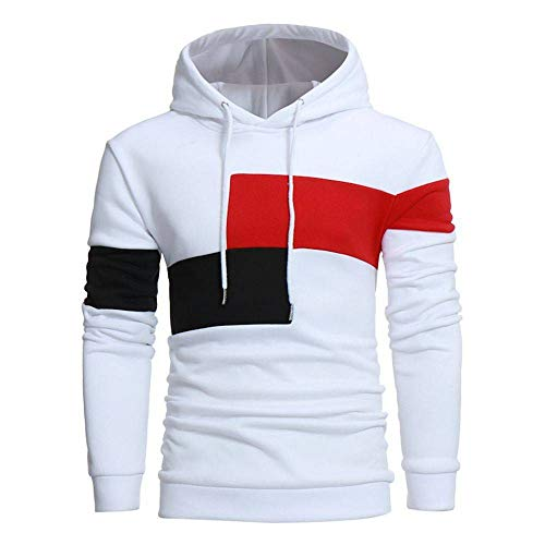 ZHOUJEE Autumn and Winter Men's Casual Color Matching Hooded Long-Sleeved Sweater Fashion Men's Clothing White