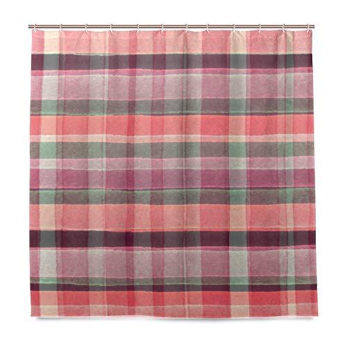 HEOH douchegordijn voor de badkamer, waterdicht, van polyester met Schotse ruiten, handgemaakt, 72 x 72 inch met haken