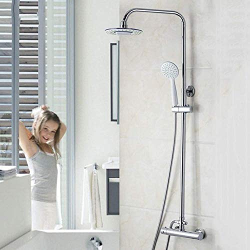 Yhtech 8 pulgadas cabezal de ducha termostática, la cabeza de ducha Set de ducha, ajustable Ducha Bañera Grifo Juego de ducha