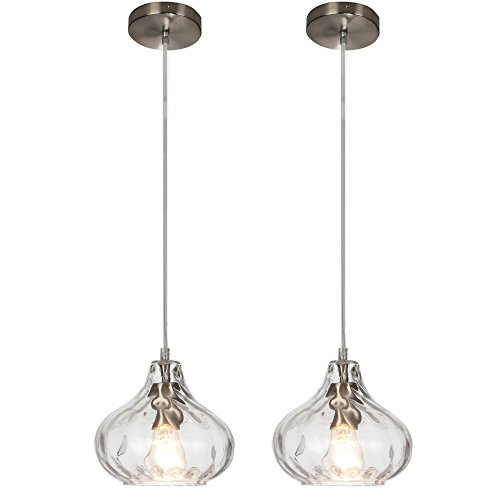 POPILION 2-PACK Industrial fixture Adjustable Mini Pendant Light with Clear Glass, Pendant Hanging Lamp Fixture For Kitchen, Hallway, Dining Room, Bedroom