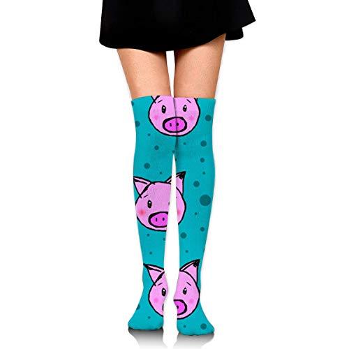 Schweine und Tupfen lustige verrückte Socken für Frauen kniehohe Socken lange athletische Sport Tube lässige Stiefel Strümpfe Beinlinge