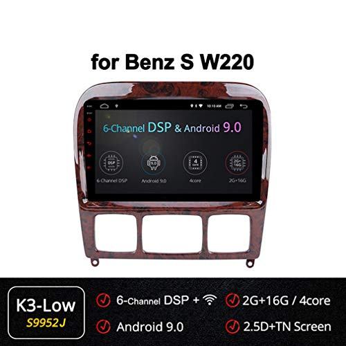 XBRMMM 2+32G Car Navi GPS Stereo Android 9 Inch Autoradio for Mercedes Benz S Class W220 S280 S320 S350 S400 S430 S500 S600 AMG 1998-2005, Mirror Link, Eight Cores, 2.5D IPS Nano Screen
