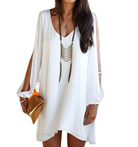 LONUPAZZ Mini Robe Courte Mousseline Été Femme Soirée Cocktail Blanche Robe Asymétrique V-Col Casual (Asian XL, Blanc)