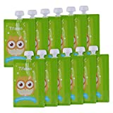 12 Pack 7 oz Owl Reusable Baby Food Squeeze Storage Pouches for Homemade Organic Baby, Toddlers, Kids Food - Easy to...