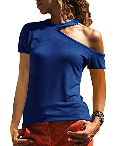 Dawwoti Damska urocza bluzka na jedno ramię wąska krótki rękaw jednolity kolor lato T-shirt