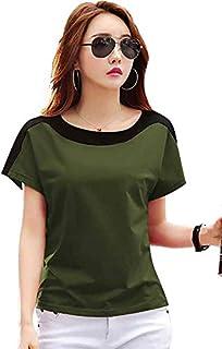 Ytrick Women Olive Round Neck Cotton Tshirts