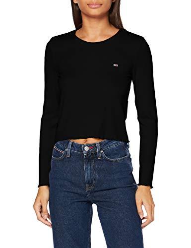 Tommy Jeans Damen TJW Rib Crop Longsleeve Hemd, Schwarz, Large