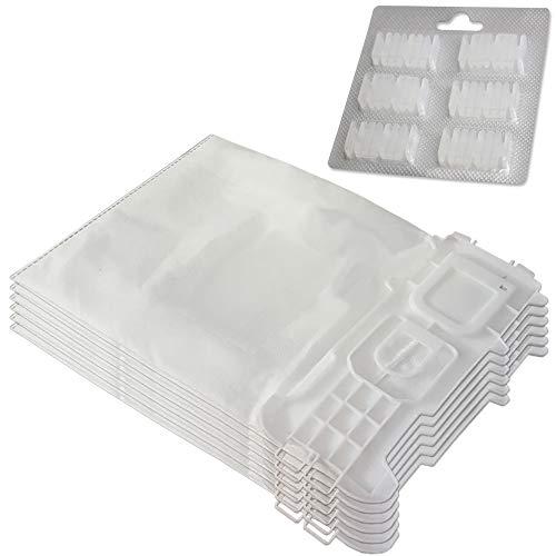 Set 6 Mikrovlies Staubsaugerbeutel + 6 Duft geeignet für Vorwerk Kobold 135, 136, 135 SC, VK 135, VK 136, VK135, VK136, FP135, FP136 - mit Hygieneverschluss - Vlies