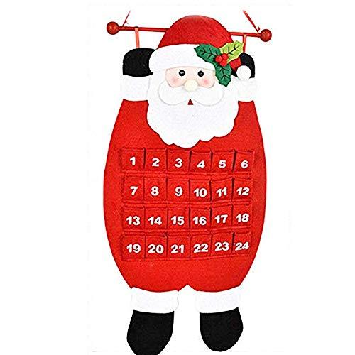 Sunshine smile 24 Tage Countdown Weihnachtsbaum Adventskalender,Filz Weihnachtsbaum Adventskalender für Kinder,weihnachtskalender Tannenbaum,Kinder adventskalender zum befüllen (E)