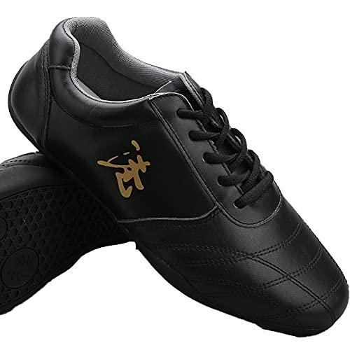 Zapatos Otoño de Tai Chi Artes Marciales, Unisex Zapatos de Kung Fu Taekwondo para Hombres y Mujeres, Adulto Ligera Zapatillas de Entrenamiento Deporte para Boxeo, Karat(Size:42EU/11US,Color:Negro)