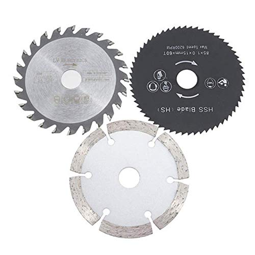 JINKEBIN Abrasivo de 3pcs 85 mm Discos de Corte Circular Kit de Hojas de Sierra TCT Conjunto de Herramienta rotativa/HSS for Madera cortadoras de Discos Circulares Kit de Hojas de Sierra