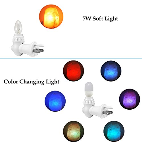 [2 Different Bulbs] Natural Himalayan Salt Lamp, Plug in Hand Carved Crystal Night Light, Best Bedroom, Living Room, Kitchen, Hallway Wall Light