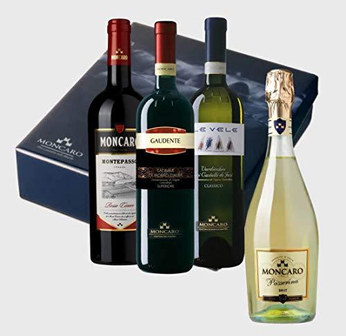 Selezione INNOVA Cantina Moncaro. 4x bottiglie miste assaggio. Conero, Lacrima, Verdicchio, Passerina Brut. Ancona, Marche, Italia