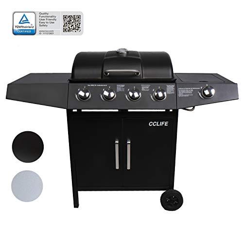 CCLIFE BBQ Barbecue griglia a Gas con 4/6 bruciatori Principali + 1 bruciatore Laterale, Colore:Nero, Dimensione:4+1 Bruciatore