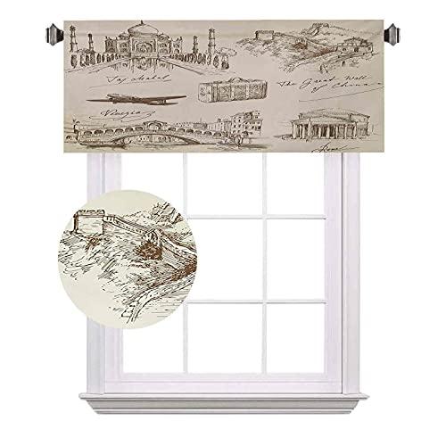 Cenefas cortas de viaje, lugares de interés turístico famosos del mundo con ilustración de avión y maleta antigua, cortinas de ahorro de energía para cortinas de baño, 52 x 12 pulgadas, color beige