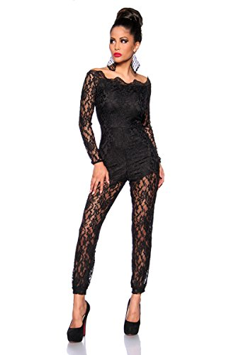 jowiha dames overall jumpsuit van fijne kant met ritssluiting in zwart