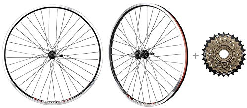 CyclingDeal Bicycle Mountain Bike 26 inch Double Wall Rims MTB Wheelset 26' 6 Speed with Compatible with Shimano MF-TZ500-6 14-28T Freewheel - Front & Back Wheels