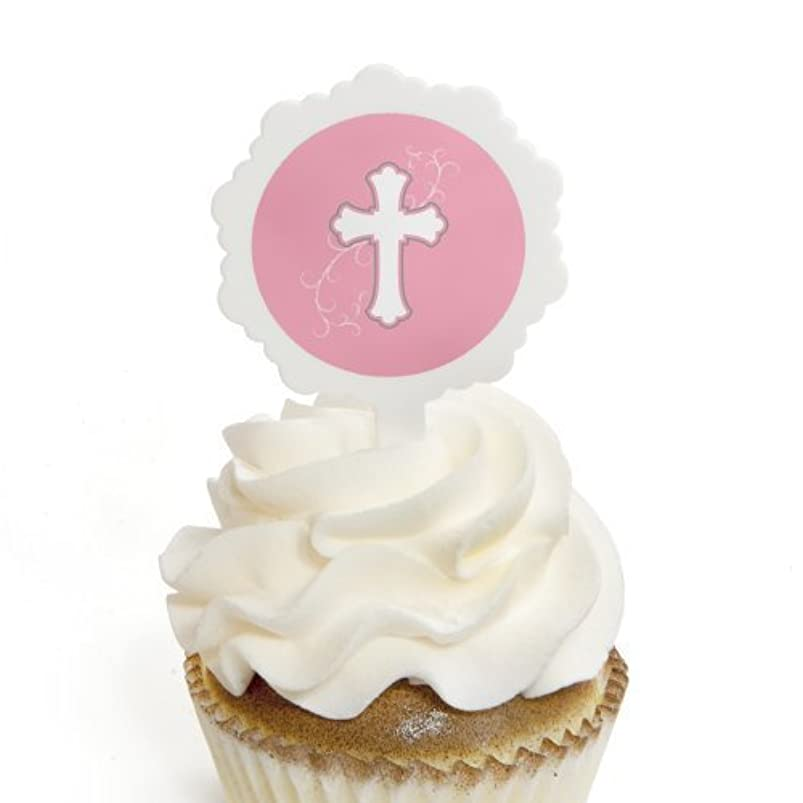 Big Dot of Happiness Little Miracle Girl Pink & Gray Cross - Cupcake Picks with Stickers - Baptism Cupcake Toppers - 12 Count iubhfwfz598067