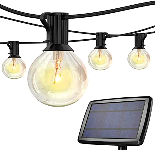 Solar String Light Outdoor Garden 25FT LED Bulbs G40 Waterproof Hanging Lights Auto On/Off Rechargeable Solar Panel for Festoon Patio Yard Decoration (25 Bulbs+2 Spare Bulbs)