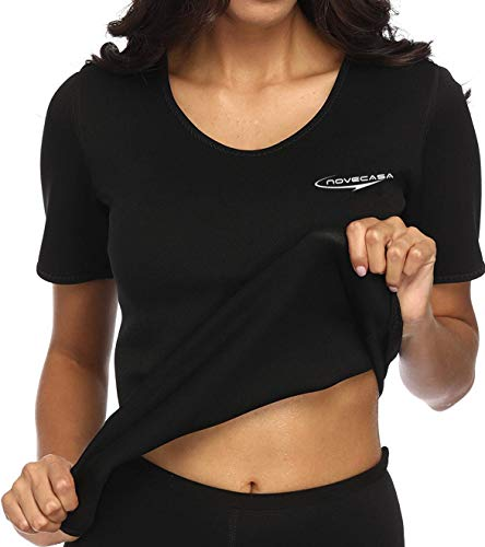 NOVECASA Sauna T-Shirts Femme Néoprène Chemise pour Brûler Graisses Abdominaux Minceur Gym Fitness Yoga (2XL, Noir-Noir)
