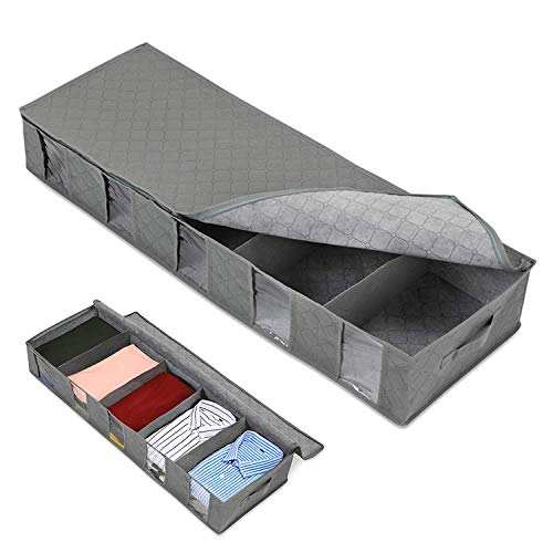 Under The Bed Storage Drawers Under Bed Storage Bag Large Capacity Clothing Containers 5 Clear Window Clothing Shoes Blankets Sweaters Storage-Underbed Drawer