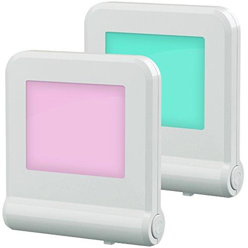 Babyliya Steckdose LED Nachtlicht mit Dämmerungssensor, mehrere Farbwechsel Nachtlichter für Mitternacht Bequemlichkeit, Schlafzimmer, Kinderzimmer, Küche, Flur, 2 Stück