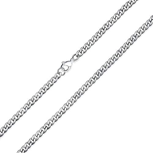 Bling Jewelry 4mm Cadena Cubana Curb Hombres Collar Plata Tono Acero Inoxidable joyería Collar Cadenas de eslabones para Hombres Adolescentes 20' Pulgadas