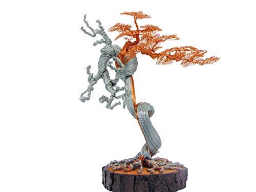 GREENHANDSHAKE Bonsai Copper Wire Tree Sculpture, Tree Sculptures Modern, Best Gift, Handcraft, Home Decor, Office Decoration (Gold)