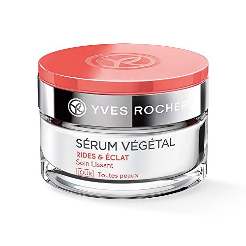 Yves Rocher SÉRUM VÉGÉTAL glättende Pflege Tag, straffende Anti-Falten Tagespflege & Make-up Grundlage, 1 x Glas-Tiegel 50 ml
