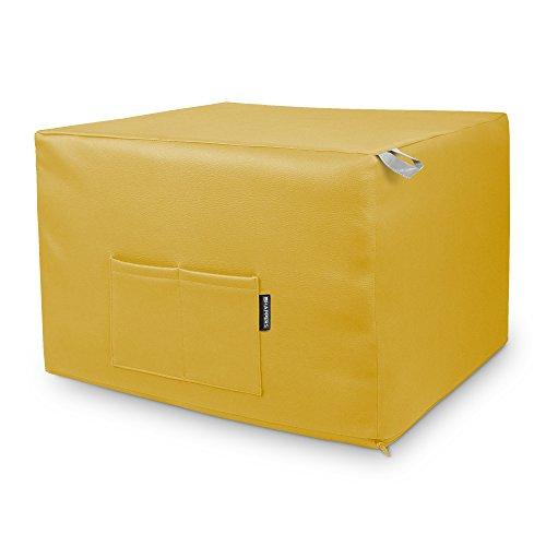 HAPPERS Puff Mostaza Convertible en Cama cómoda con Funda de Polipiel incluida, Futón con Cama colchon, colchoneta Convertible en Puff o cómodo sillón Fabricado en España. Incluye 3 años de garantía
