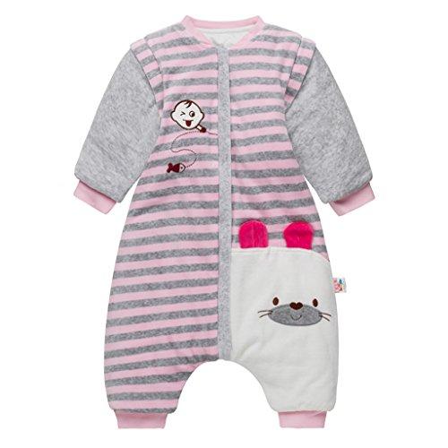 Saco de dormir para bebé con pies, bebé bolsa de dormir mangas extraíbles y Piernas separadas invierno saco antideslizante para dormir 100% algodón orgánico, 9-24 Meses