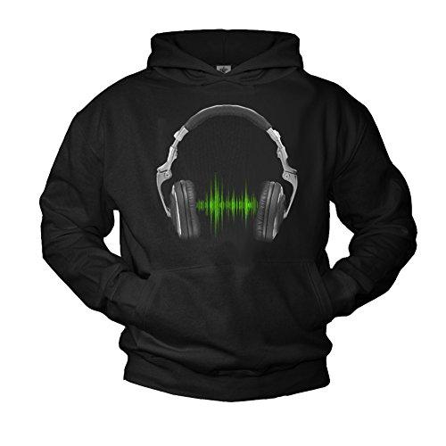 MAKAYA DJ Hoodie mit Kopfhörer Headphones Electro Musik Kapuzenpullover schwarz XL
