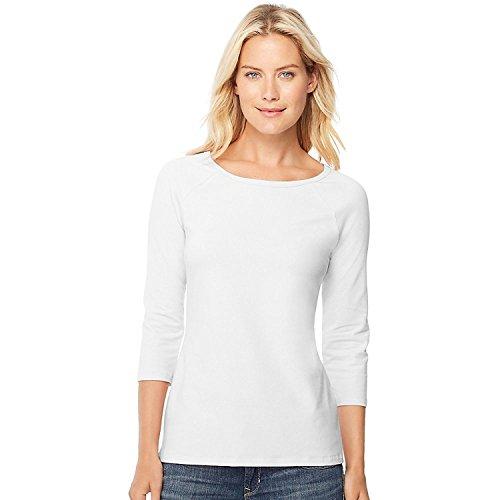 Hanes Women's Stretch Cotton Raglan Sleeve Tee, White, Medium