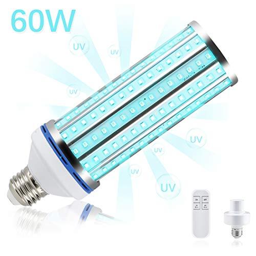 [DEUTSCHLAND LAGER] Neue 60W UV-Keimtötungslampe, UV-UV-Röhrenlampe UV-UVC-Maiskolben E26 / E27 Schraubfassung mit Fernbedienung für Zuhause, Büro