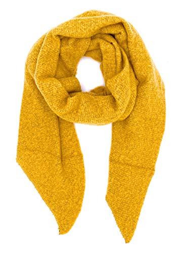 stylx Damen weicher unifarbener Web Schal in asymmetrischer Form, Winter, Stola Pcpyron Long Scarf Noos (senfgelb)