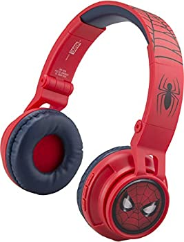 eKids Spiderman Wireless Bluetooth Portable Kids Headphones with Microphone Volume Reduced to Protect Hearing Rechargeable Battery Adjustable Kids Headband for School Home or Travel