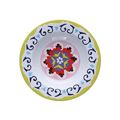 Rose & Tulipani - Piatto Fondo Verde Set da 6 pz - Serie Nador - Set Piatti, Servizio Piatti - Stoneware - Ø 23; h3,5 cm