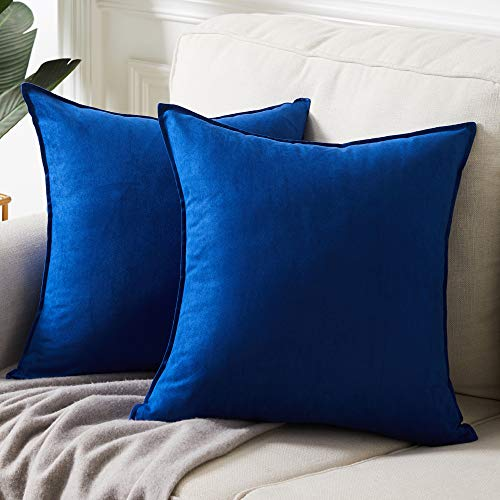 """Fancy Homi 2 Packs Premium Faux Suede Decorative Throw Pillow Covers, Super Soft Square Pillow Case,Solid Cushion Cover for Couch/Sofa/Bedroom (18"""" x 18"""", Set of 2, Blue)"""