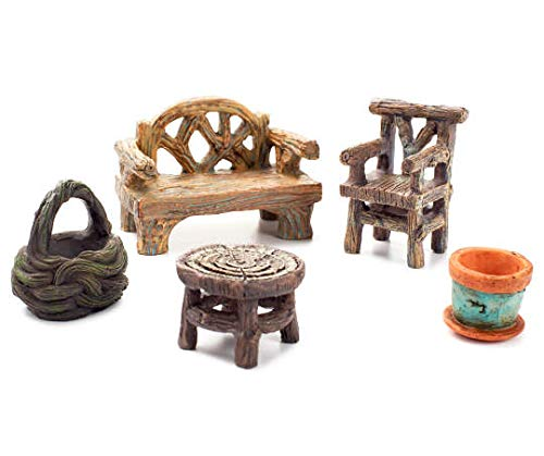Fairy Garden Furniture, 5 Piece Miniature Furniture Seating Collection Set Natural Wooden Looking (5)